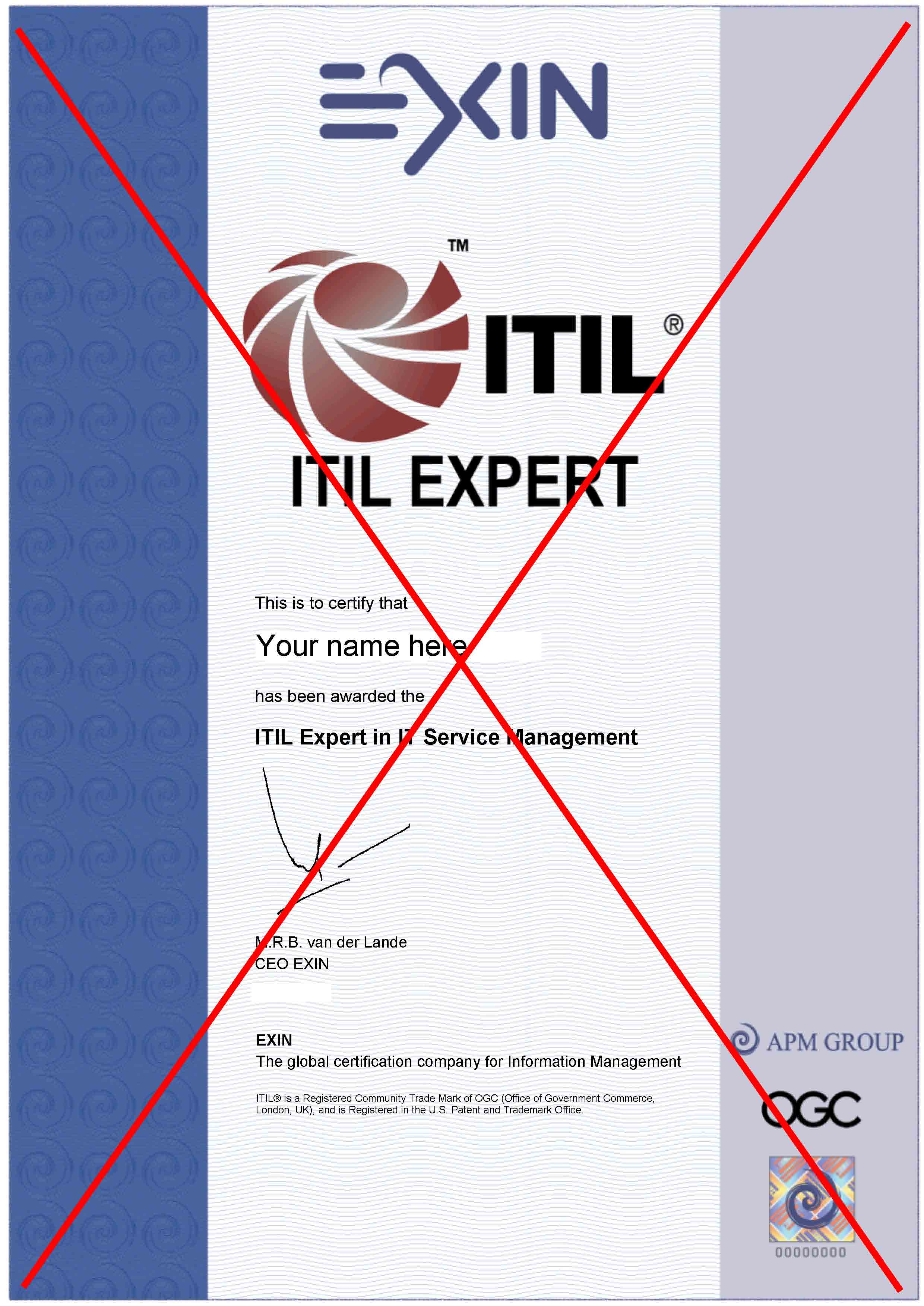 Paper certificates and pins click to see what your itil expert certificate will look xflitez Images